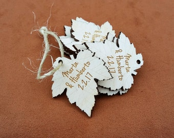 100 wood engraved leaf shaped hang tags
