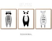 Nursery animal print set, Panda Print, Raccoon Print, Wolf Print, Racoon Print, Nursery animal Art, Kids room art, Nursery room Art