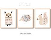 Squirrel Print, Hedgehog Print, Owl Print, Animal illustration, Aniaml Art print, Nursery animal Art, Kids room art, Nursery room Art