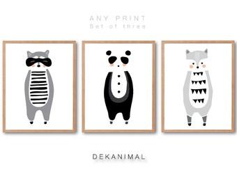 Baby Panda, Baby Raccoon, Baby Wolf illustration, Baby Racoon Print, New born gift, Animal Print set, Kids room art, Nursery room Art