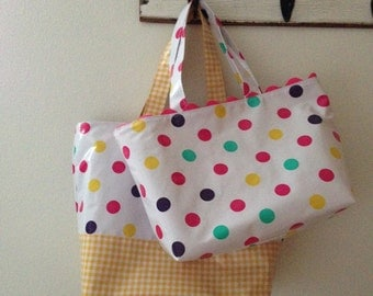 Beth's Mom and Me Pink Tokyo Oilcloth Market Tote Bags