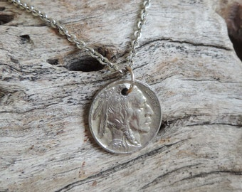 1915 Buffalo Nickel Coin Pendant with Stainless Steel Chain