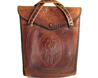 Vintage Handmade Tooled Leather Handbag Brown Leather with Tooled Flowers and Lanyard Edging / Coin Purse