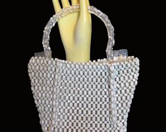 1940s Vintage Beaded Handbag with Lucite Handle / Suzanne Brand Czechoslovakia Ivory Handbag Evening Bag