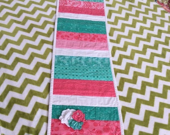 Table runner-Quilted table runners-peiced table runners-coral table runners