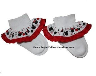 Minnie Baby Socks,Ribbon Ruffle Socks,Mickey Baby Socks,Frilly Socks,Baby Ruffle Socks,Ribbon Socks,Frilly Baby Socks,Minnie Mouse Socks