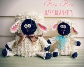 Download Now - CROCHET PATTERN Baa Baa Baby Blankets - Includes Wee Baby Lovey and Mommy Loves Ewe Baby Blanket - Pattern PDF