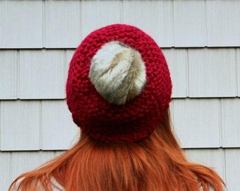 Faux Fur Pom Pom Textured Beanie Hat - Cranberry and Grey