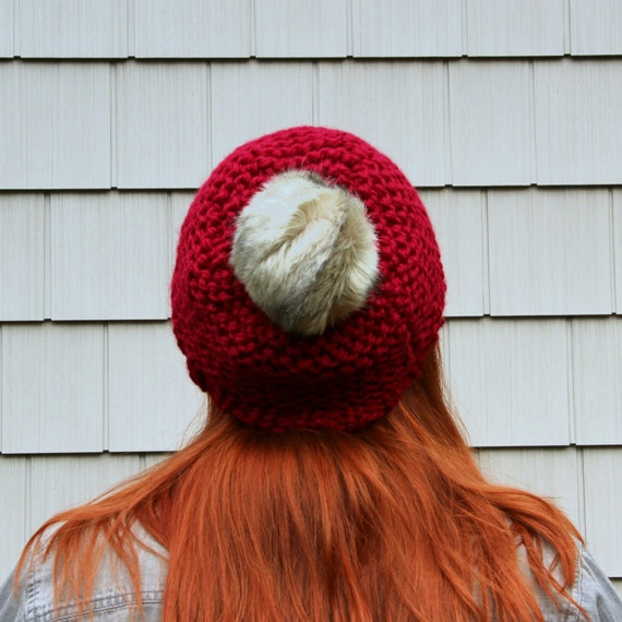 Faux Fur Pom Pom Textured Beanie Hat - Cranberry and Grey