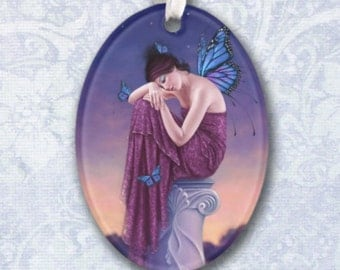 Sunset Monarch Butterfly Oval Ornament