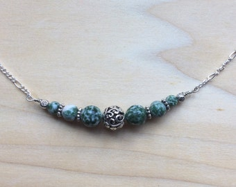 Green Jasper Necklace, Celtic Silver Necklace, jasper jewelry, Irish Jewelry, St. Patricks Day