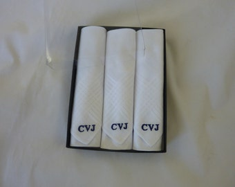 Monogrammed  Handkerchiefs  Mens White Corner  Set of 3