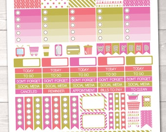 Printable ECLP Planner Stickers Weekly Kit in Pink Coral & Gold
