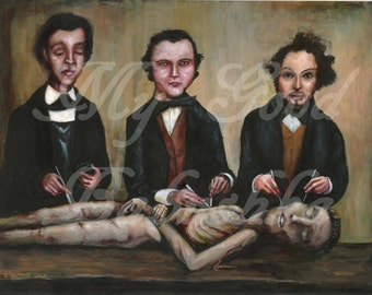 The Three Anatomists, Instant Download, Anatomy, Macabre, Medical History, Corpse, Dissection, Victorian Doctors, Cadaver, Vintage Medicine