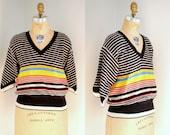 Vintage 70s  Sonia Rykiel Striped Blouson Wool Sweater
