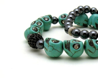 Turquoise Minimalist Skull Beaded Bracelet Day of the Dead Unisex Sugar Skulls Stretch For Her or Him Under 60 ON SALE