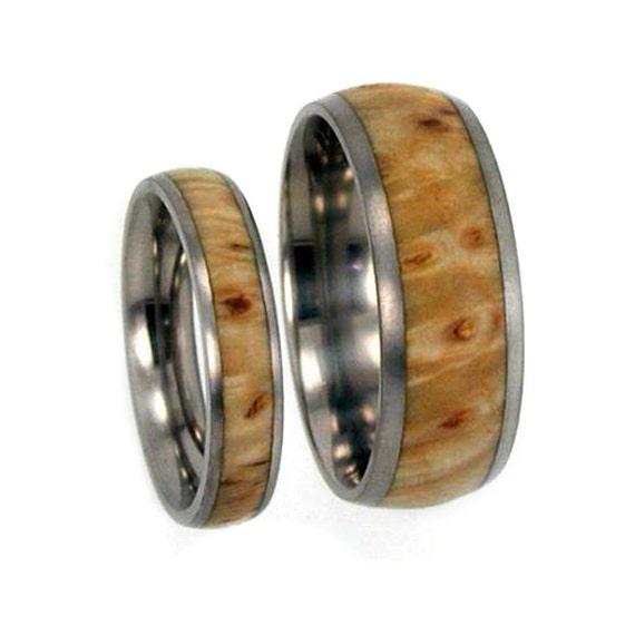 Wooden Wedding Bands Set, Titanium Rings Made With Black Ash Burl, Matching Ring Set