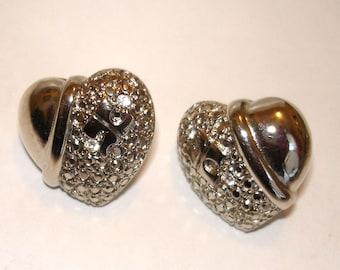 vintage silver nugget faux diamond puffy heart pierced earrings