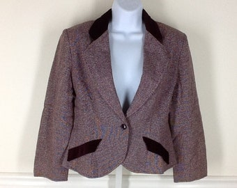 Victor Costa equestrian style cropped wool velvet jacket size 10