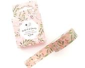 Floral Washi Tape - 15mm x 7 Metres - Greenery - Pink Washi Tape Roll - Pretty Washi Tape - Boxed Washi Tape - Washi Tape Australia