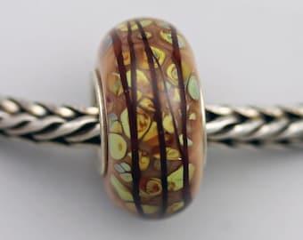 Unique Raku Mosaic on Butter Pecan Bead  - Artisan Glass Charm Bracelet Bead (JUN-43)