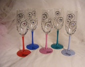 colorful painted champagne flutes with swirls and Swarovski crystals - can be personalized