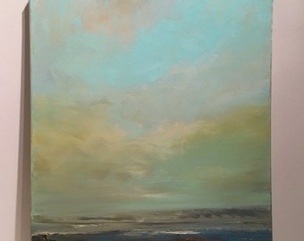 Rustic Peace - Oil Painting- 16 x 20-Brown Sienna Blue Aqua Gold- Beach Earth Tones-  Stretched Canvas- 3/4 painted edge