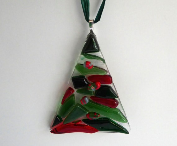 Fused glass red and green christmas tree ornament for Red and green christmas tree