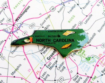 North Carolina Brooch - Pin / Unique Wearable History Gift Idea / Upcycled Vintage 1961 Wood Puzzle Piece / Timeless Gift Under 20