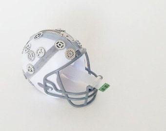 Steampunk Helmet Tape Dispenser /  White Helmet, Gray Metal Zipper, Gray Twill, Silver Gears / Office Decor / Gift Under 40 For Him