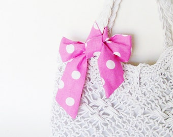 Pink & White Polka Dots Head Scarf / Hair Accessory / Neck Scarf / Handbag or Walker Adornment / Rockabilly Hair Scarf / Gift Under 20