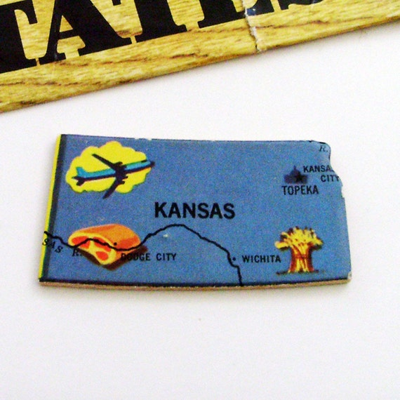 Kansas Brooch - Pin / Unique Wearable History Gift Idea / Upcycled Vintage 1961 Wood Puzzle Piece / Timeless Gift Under 25