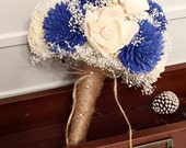 Royal blue Wedding Bouquet - sola flowers - choose your colors - Custom - Alternative bridal bouquet - bridesmaids bouquet