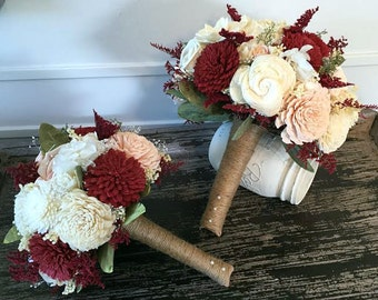 Wine, blush and ivory Wedding Bouquet - sola flowers - choose your colors - Custom - Alternative bouquet - bridesmaids bouquet