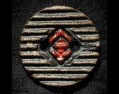 Ceramic Buttons: Basaltic Black Stoneware Red Eye