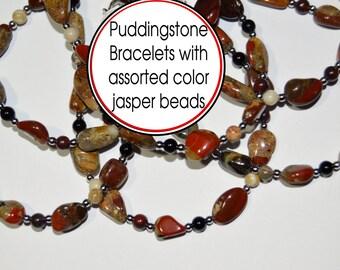 Puddingstone  beaded bracelet custom created just for you. Pudding stone With Jasper stone bead . Size 5 thru 9. Michigan made.
