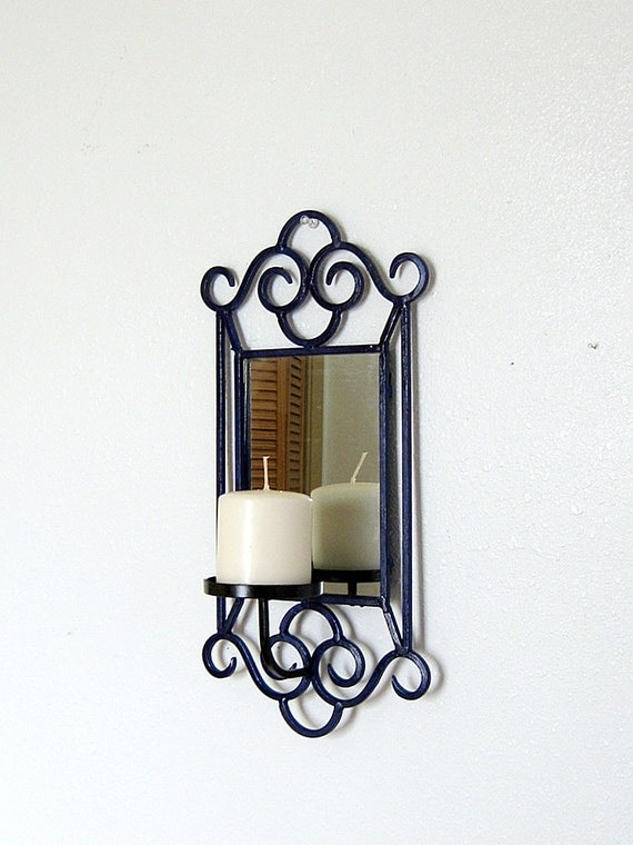 Wrought Iron Wall Decor Candle Holders : Wrought iron wall mirror pillar candle holder