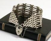 Vintage Wide Gate Bracelet, English Sterling Silver, 8 Bar Links, Heart Padlock Clasp, London 1975