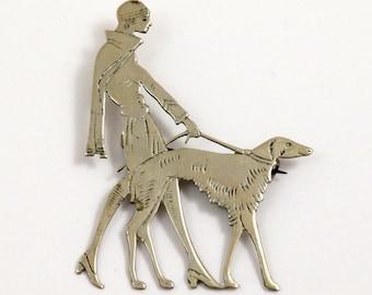 Art Deco Brooch, Lady Walking A Dog Borzoi, Silver Tone Brass Brooch, Original Vintage, 1920s Brooch