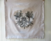 RESERVED FOR JENEE D French coat of arms pillow vintage grainsack feedsack cotton pillow sham Cream grey French Farmhouse Cottage Chic