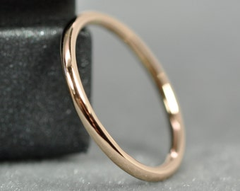 Skinny Rose Gold Ring, Solid 18K Gold Slim Band, Full Round, Polished Finish, Sea Babe Jewelry