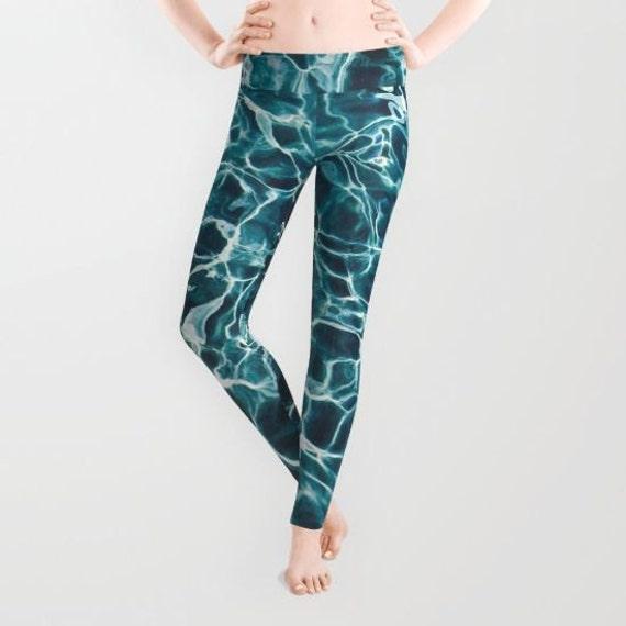 Pool Water Leggings, Ocean Blue Green Yoga Pants, Water Yoga Leggings, Women, Teen Active Wear, Running Pants, Jogging, Surf Fashion,Element