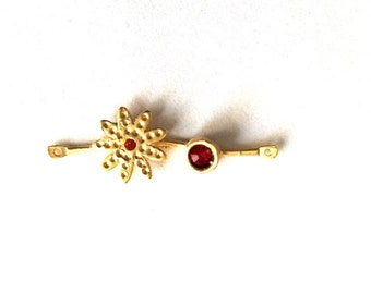1pc - Matte Gold  Plated Flower, with red rhinestone Connector-38x14mm