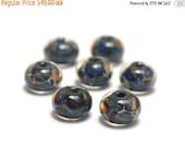 ON SALE 50% OFF Seven Blue-green & Purple Rondelle Beads - Handmade Glass Lampwork Bead Set 10408801