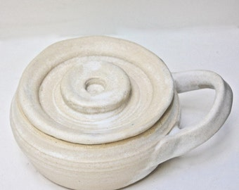 White Stoneware Shaving Mug with Lid Made in Vermont A Green Item