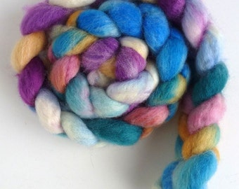 BFL Wool Roving - Hand Painted Spinning or Felting Fiber, Child's Blanket