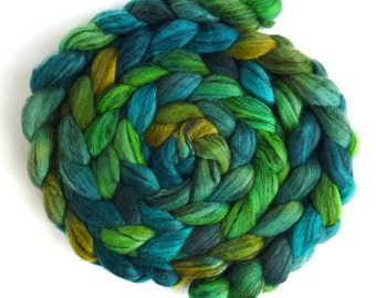 Merino Wool Roving and Tencel, 80/20 - Hand Dyed Spinning or Felting Fiber, Multitude of Greens