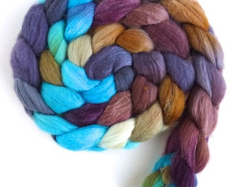Merino/ Silk Roving (Top) - Handpainted Spinning or Felting Fiber, Opening Farewell
