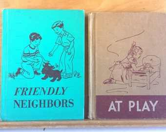 Reader Books Vintage Lot At Play and Friendly Neighbors 1950 1951