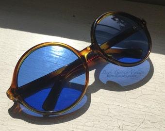 Italy 60's Oversized Blue Sunglasses Tortoise Eyeglass Frames Cobalt Lenses Grunge Hipster Alternative Indie Style